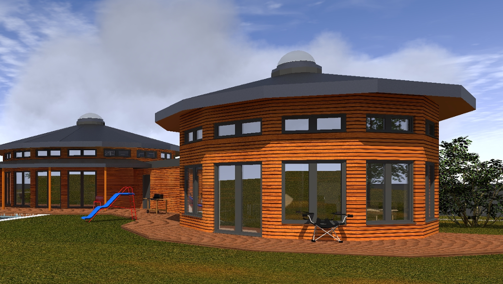 kruhová dřevostavba kruhový dům Duo