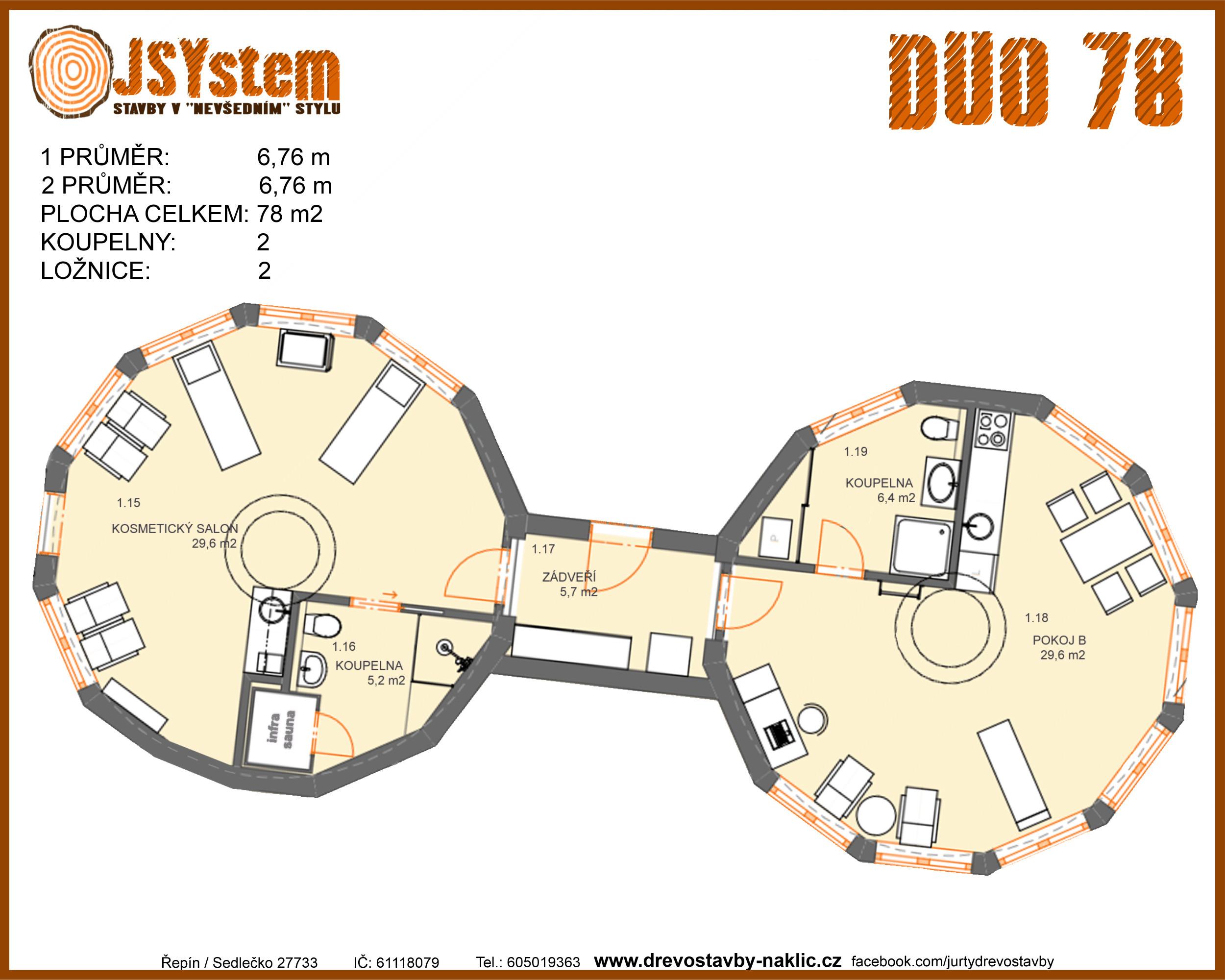 kruhová dřevostavba, kruhový dům - duo 78