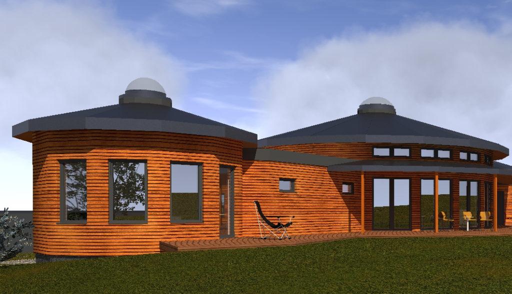 kruhový dům, kruhová dřevostavba na klíč, moderní jurta k bydlení