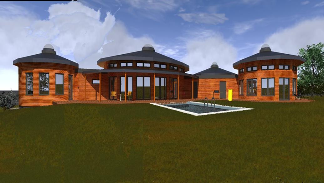 kruhový dům, kruhová dřevostavba na klíč, moderní jurta k bydlení QUARTET
