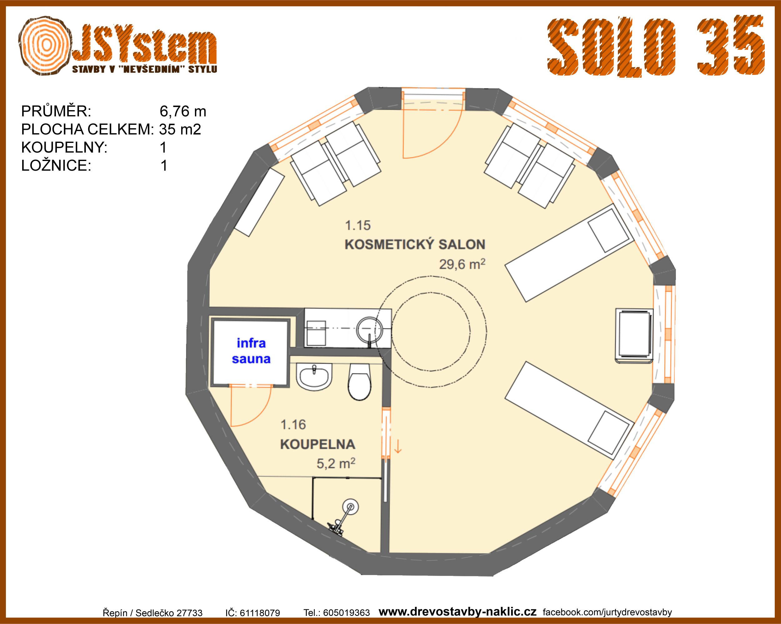 kruhový dům, kruhová dřevostavba - solo 35