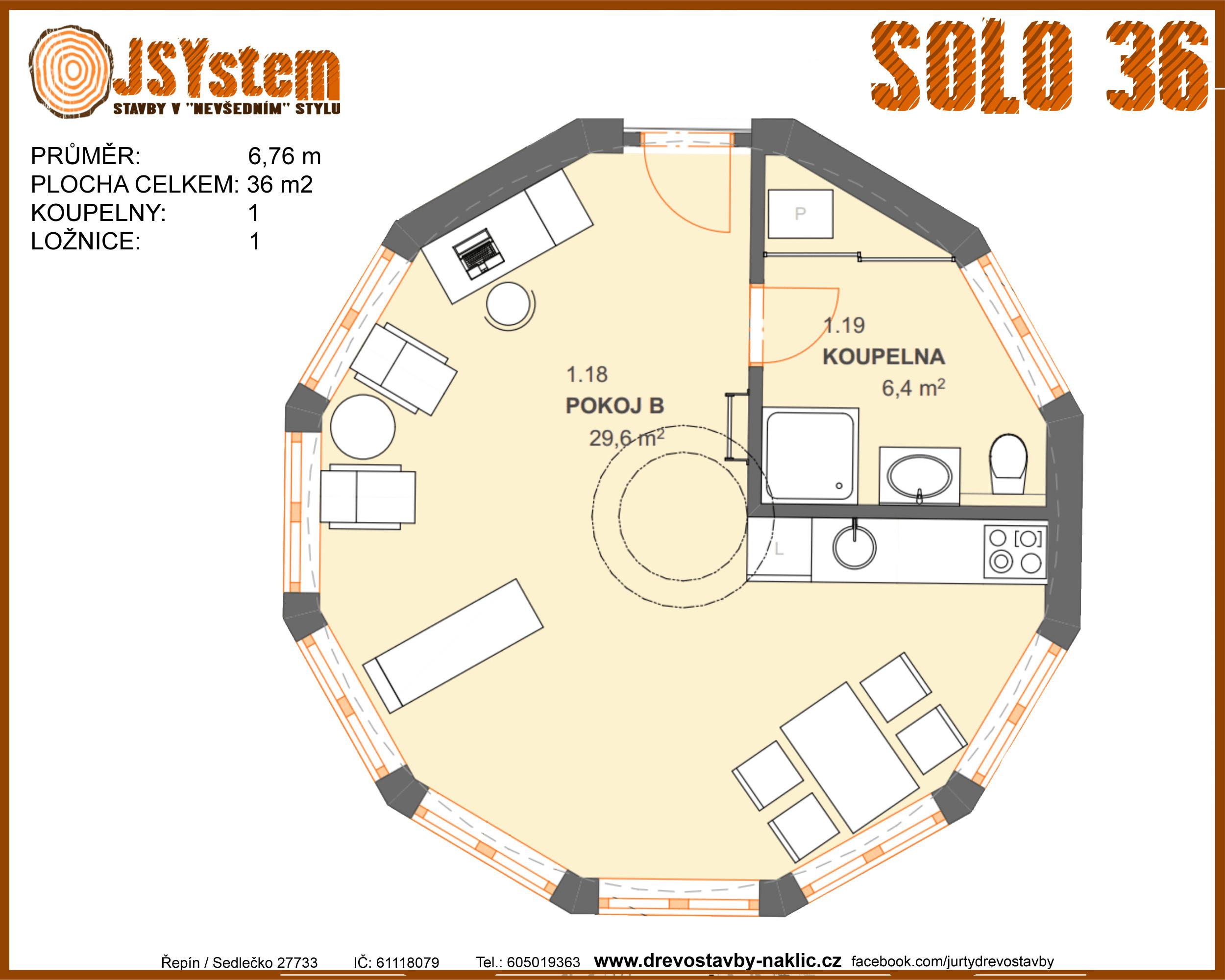 kruhová dřevostavba, kruhový dům - solo 36