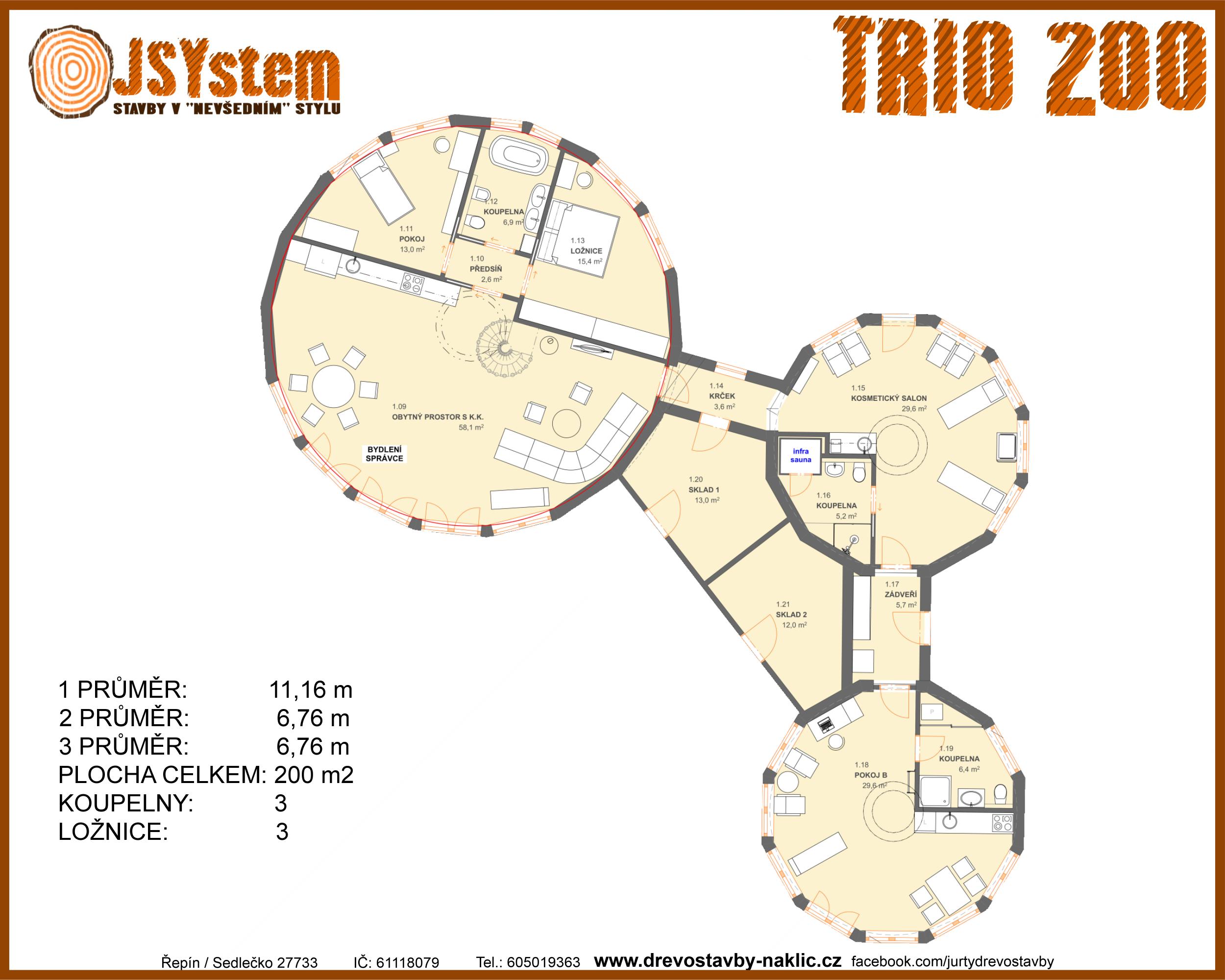 kruhový dům, kruhová dřevostavba - trio 200