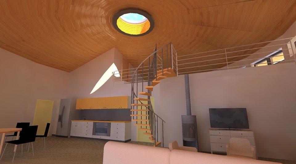 kruhová dřevostavba, kruhový dům interier
